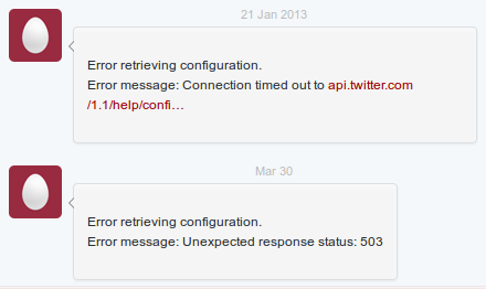Error Messages in my Twitter Inbox