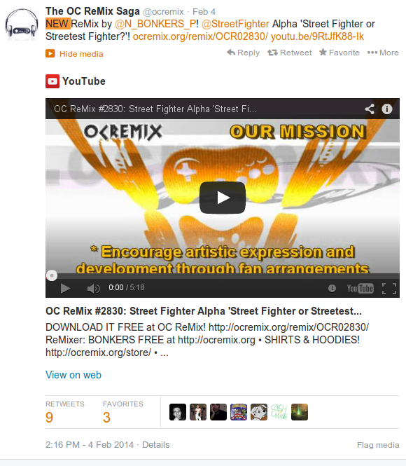 Official OCRemix Twitter Feed picture, embedded Youtube